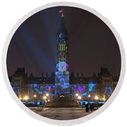 Round Beach Towel featuring the photograph Christmas Lights Across Canada.. by Nina Stavlund