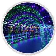 Christmas Lights In Tunnel At Lafarge Lake Round Beach Towel
