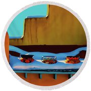 Christmas Morning Taos Round Beach Towel