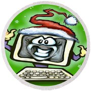 Christmas Office Party Round Beach Towel