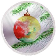 Round Beach Towel featuring the painting Christmas Ornament by Edwin Alverio