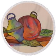 Christmas Ornaments Round Beach Towel by Christy Saunders Church