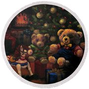 Round Beach Towel featuring the painting Christmas Past by Karen Ilari