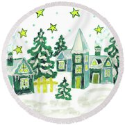 Christmas Picture In Green Round Beach Towel