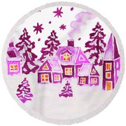 Christmas Picture In Pink Colours Round Beach Towel