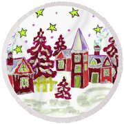 Christmas Picture In Red Round Beach Towel