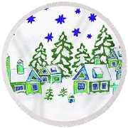 Christmas Picture, Painting Round Beach Towel