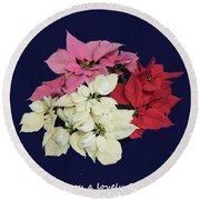 Christmas Pointsettias Round Beach Towel