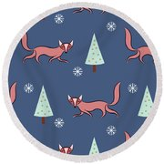 Christmas Red Fox Pattern Round Beach Towel