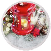 Christmas Red Lantern  Round Beach Towel