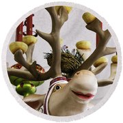 Round Beach Towel featuring the photograph Christmas Reindeer Games by Betty Denise