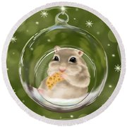 Round Beach Towel featuring the painting Christmas Relax by Veronica Minozzi