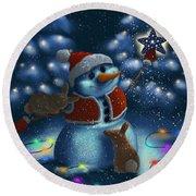Round Beach Towel featuring the painting Christmas Season by Veronica Minozzi