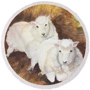 Round Beach Towel featuring the painting Christmas Sheep by Lucia Grilletto