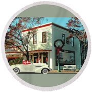 Christmas Shopping In Georgetown, Texas  Round Beach Towel by Janette Boyd