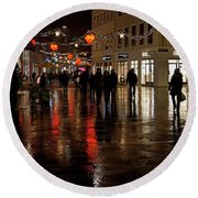 Round Beach Towel featuring the photograph Christmas Shopping by Inge Riis McDonald