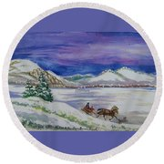 Round Beach Towel featuring the painting Christmas Sleigh by Dawn Senior-Trask