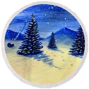 Christmas Snow Round Beach Towel