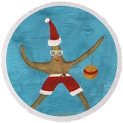 Christmas Starfish Round Beach Towel