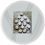 Christmas Stars Round Beach Towel