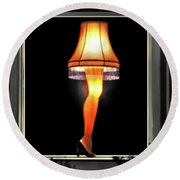 Christmas Story Leg Lamp Round Beach Towel by Jennie Breeze