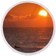 Christmas Sunrise On The Atlantic Ocean Round Beach Towel