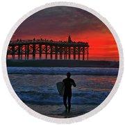 Christmas Surfer Sunset Round Beach Towel
