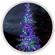 Round Beach Towel featuring the photograph Christmas Tree - 365 - 295 by Inge Riis McDonald
