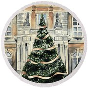 Christmas Tree At Versailles French Chateau Holiday Round Beach Towel
