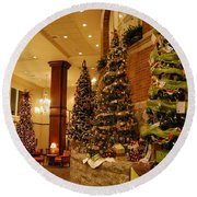 Round Beach Towel featuring the photograph Christmas Tree by Eric Liller