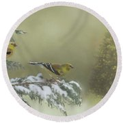 Christmas With The Goldfinches Round Beach Towel by Janette Boyd
