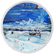 Christmas Wonderland Round Beach Towel by Shana Rowe Jackson