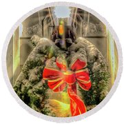 Round Beach Towel featuring the photograph Christmas Wreath I by Rod Best
