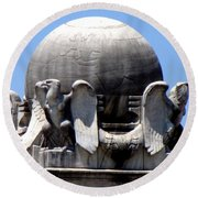 Christopher Columbus Memorial Fountain 3 Round Beach Towel by Randall Weidner