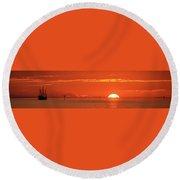 Christopher Columbus Sailing Ship Nina Sails Off Into The Sunset Panoramic Round Beach Towel