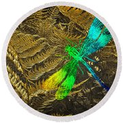 Chromatic Dragonfly Round Beach Towel