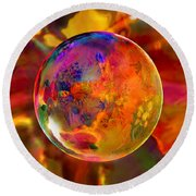 Chromatic Floral Sphere Round Beach Towel