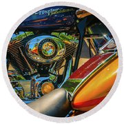Round Beach Towel featuring the photograph Chrome And Color by Samuel M Purvis III