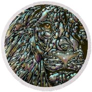 Round Beach Towel featuring the digital art Chrome Lion by Darren Cannell