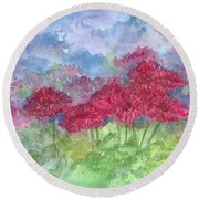 Round Beach Towel featuring the painting Chrysanthemums by Cathie Richardson
