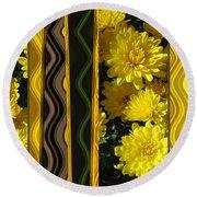 Chrysanthemums On Display Round Beach Towel by Brooks Garten Hauschild