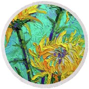 Chrysanthemums On Turquoise Palette Knife Impasto Oil Painting Round Beach Towel
