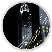 Chrysler Building At Night Round Beach Towel