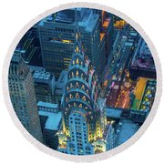Chrysler Building Round Beach Towel by Inge Johnsson