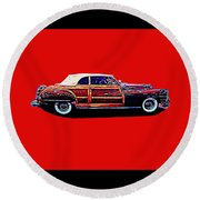 Chrysler Town And Country Convertible Roadster Round Beach Towel