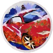 Chubby Car Red Round Beach Towel by Catherine Lott