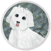 Round Beach Towel featuring the painting Chubby Puppy by Rosalie Scanlon