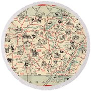 Chuckle Map Of Tennessee - Vintage Illustrated Map - Cartoon Vignettes Round Beach Towel