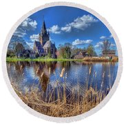 Church Along The Amstel River Round Beach Towel
