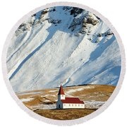 Round Beach Towel featuring the photograph Church And Mountains In Winter Vik Iceland by Matthias Hauser